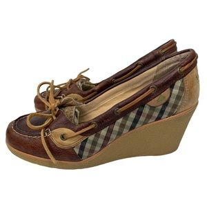 Sperry Topsider Leather Plaid Wedges Size 9